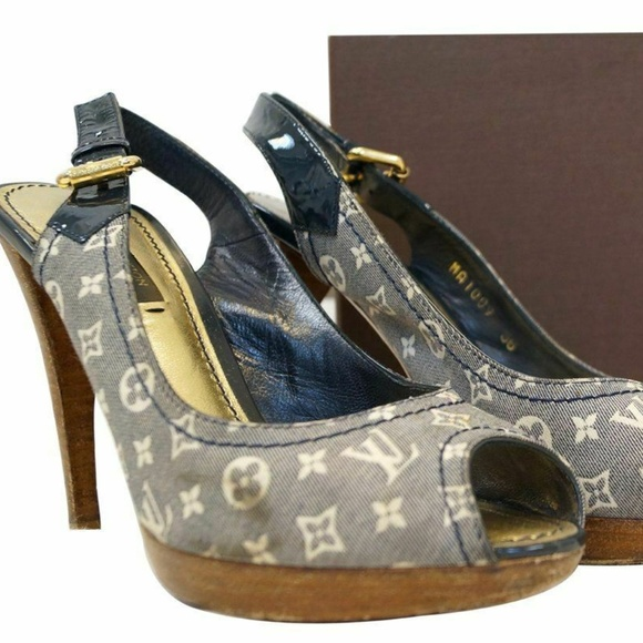183e38dacb8 LOUIS VUITTON Monogram Slingback Heel Open Pumps